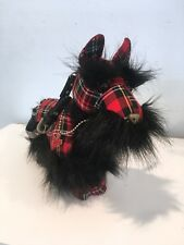 Collectible Fuzzy Nation Scottish Terrier Puppy Dog Purse/Bag with Red Plaid