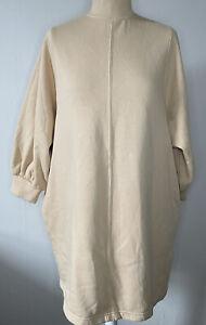 Monki Cream High Neck Oversized Mini Dress Size XS Balloon Sleeves Pockets
