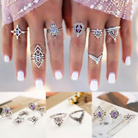 7Pcs/Set Vintage Silver Amethyst Crystal Boho Midi Above Knuckle Ring Jewelry