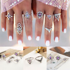 7Pcs/Set Vintage Silver Amethyst Crystal Boho Midi Above Knuckle Ring Jewelry