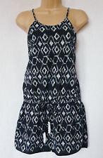 BNWT NEXT navy print 100% cotton strappy jersey  summer beach playsuit size 8
