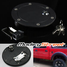 FOR 04-08 FORD F150 F-150 BILLET MATTE BLACK GAS FUEL TANK DOOR w/ LOCK + KEY