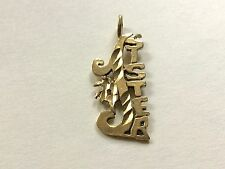 14K Solid Yellow Gold #1 Sister Diamond Cut Pendant - Excellent