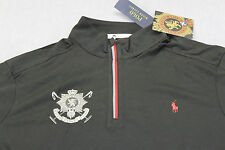 RALPH LAUREN BLACKWATCH POLO TEAM Men BLACK 1/2 ZIP PONY MOCK SWEATSHIRT XL $125
