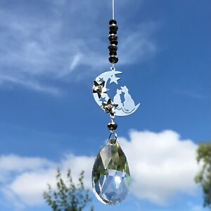 New 3D Cat and Moon Sun Catcher with Large Glass Crystal Drop Black and Silver