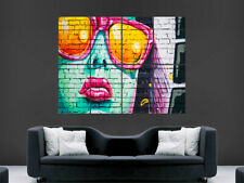 GIRL FACE STREET GRAFFITI POSTER GIANT WALL ART  PRINT ABSTRACT BRIGHT TRIPPY