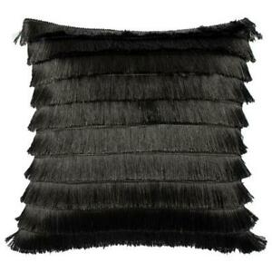 Luxurious FLICKER Glossy Fringed cushion with Velvet reverse 45x45cm in Graphite