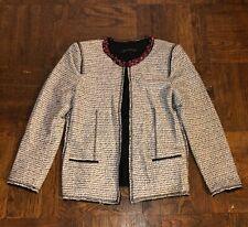 Zara Woman RARE Tweed Fantasy Jacket Blazer Beaded Neckline Open Front Size L
