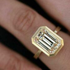 3.50 ct Emerald Cut Diamond Yellow 925 Silver Ring VVS1/D Fine Ring