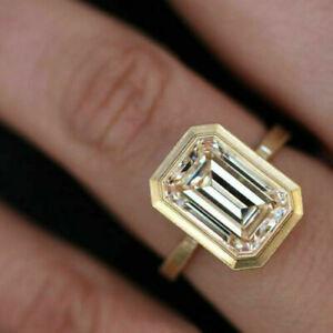 3.50 ct Emerald Cut Diamond Yellow 925 Silver Wedding Ring VVS1/D