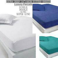 "Extra Deep Fitted Sheets 16""/40CM Deep Finest Quality Bed sheets 12 Colours."