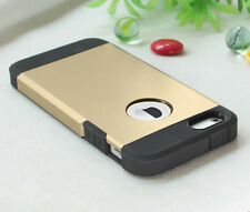 Ultra Thin Dual Layer Back Flexible Hybrid Hard Soft Gold Case for iPhone 5 5S