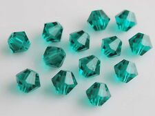 50pcs 8mm Bicone Faceted Crystal Glass Findings Loose Spacer Bead Peacock Green