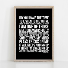 More details for green day basket case song lyrics poster print wall art