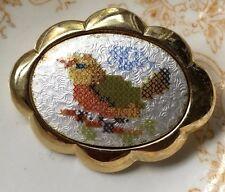 Sarah Coventry Brooch,Bird Brooch,Robin brooch,Vintage Guilloche Enameled G13B