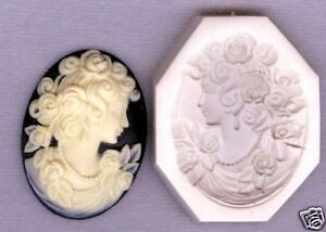 Cameo Grecian Lady With Roses Hard Polymer Clay Push Mold 40x30mm