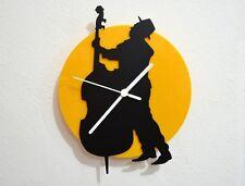 Cello Jazz Musician - Black & Yellow Silhouette - Wall Clock