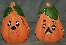 Set Of 2 PUMPKIN Ceramic POTTERY Clay TEA LIGHT HOLDERS Halloween Jack-O-Lantern