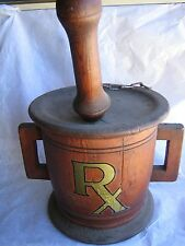 Vintage LARGE Wood Mortar & Pestle Hanging Display Apothecary Pharmacy Drugs Rx