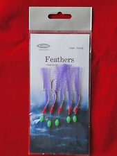 25 FEATHER RIG FISHING MACKEREL FEATHERS SPINNERS MACKERAL 1/0 LURES SEA POLLACK