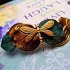DRAGONFLY BARRETTE GINGKO LEAF VERDIGRIS HAIR CLIPS BRIDAL HAIR ACCESSORIES