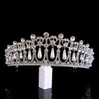 Crystal Tiara Bridal Wedding Bride Rhinestone Hair Pageants Pearl Headband Crown