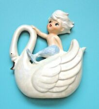More details for original vintage norcrest blue tailed mermaid merman riding a swan wall plaque