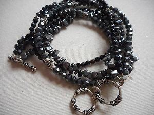 Silpada Sterling Black Onyx Hematite 3 Strand Necklace  N1094   581010