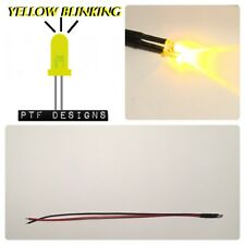 1 BLINKING YELLOW LED, 9-12 Volts Pre Wired 3mm DC , Lighting For Layouts, USA