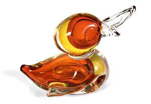 HEAVY MOD VINTAGE MURANO ITALIAN ART GLASS SOMMERSO DUCK BIRD SCULPTURE FIGURINE