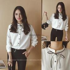 Stylish Korean Womens Casual Loose Chiffon Slim Long Sleeve T Shirt Blouse Tops