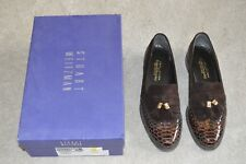 Stuart Weitzman Brown Shiny Snake Guything Brogue Slip On Womens UK 6.5 R&B New