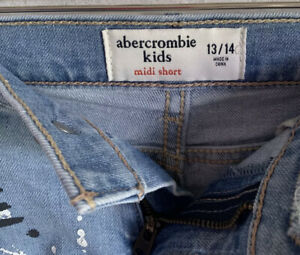 GIRLS abercrombie and fitch cut off blue MIDI  jean shorts size 13/14 NWOT
