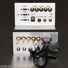 Metal AV Wall Plate, 3x HDMI / 5x Phono audio / Cat6 network / 2x F-type Sockets