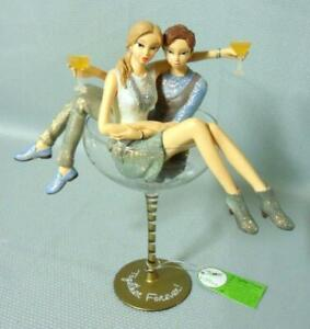 Hiccup Together forever Female Lesbian Couple Sculpture w/Wine Glass