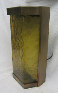 Vtg MCM Fluorescent Light Wall Sconce Antique Gold Metal w/ Amber Shade 1970s