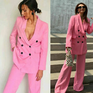 Pink Women's Suits Double Breasted Work Office Wear Shawl Lapel Wide Leg Pant