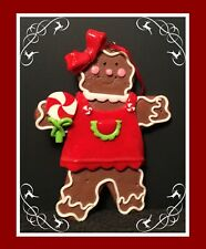 Gingerbread Man Cookie Christmas Tree Ornament  - Girl with Red Bow