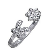 925 Sterling Silver White Clear Cz Stone Butterfly Flower Rose Toe Ring