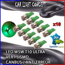 10 x ampoule 5 smd Veilleuse LED W5W T10 ULTRA VERT XENON 6500k voiture moto