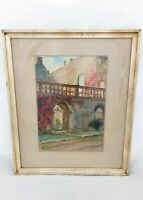 Antique Watercolour Burford Priory Oxfordshire Lucy Graham Smith 1920 Gilt Slip