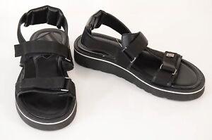 Roberto Cavalli black 10 43 leather nylon signature logo sandal shoe NEW $375