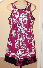 $88 CROWN & IVY Magenta/Black/White Paisley Stretch Cotton Dress SIZE 4 NWOT