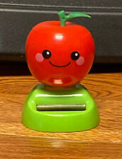 Solar Powered Dancing Toy Bobblehead New - RED APPLE  - Green Base