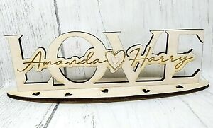 Personalised Wooden Stand Plaque Love Names Heart Valentine's Day Gift Couple