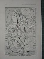 1915 WWI WW1 Imprimé ~ Austro-German Positions Été Campagne Russie Carte