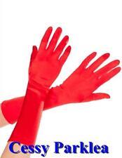 Basic Satin Gloves Mid-long Black White Red Gold Fancy Dress Costume Gloves 40CM