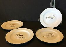 """SET OF 4 POTTERY BARN CHEESE APPETIZERS PLATES - 7 5/8"""""""