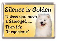 """Samoyed Dog Fridge Magnet """"Silence is Golden ......."""" by Starprint"""