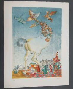 "Listed Israeli Artist Raffi Kaiser Surrealist Lithograph S/N 1/120 ""Le Cheval"""
